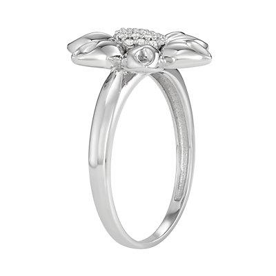 Sterling Silver 1/10 C.T. Diamond Flower Ring