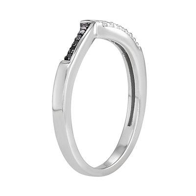 Sterling Silver 1/10 C.T. Black & White Diamond Ring