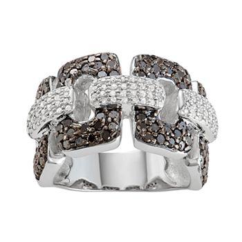 Sterling Silver 1 1/4 C.T. White & Black Diamond Ring