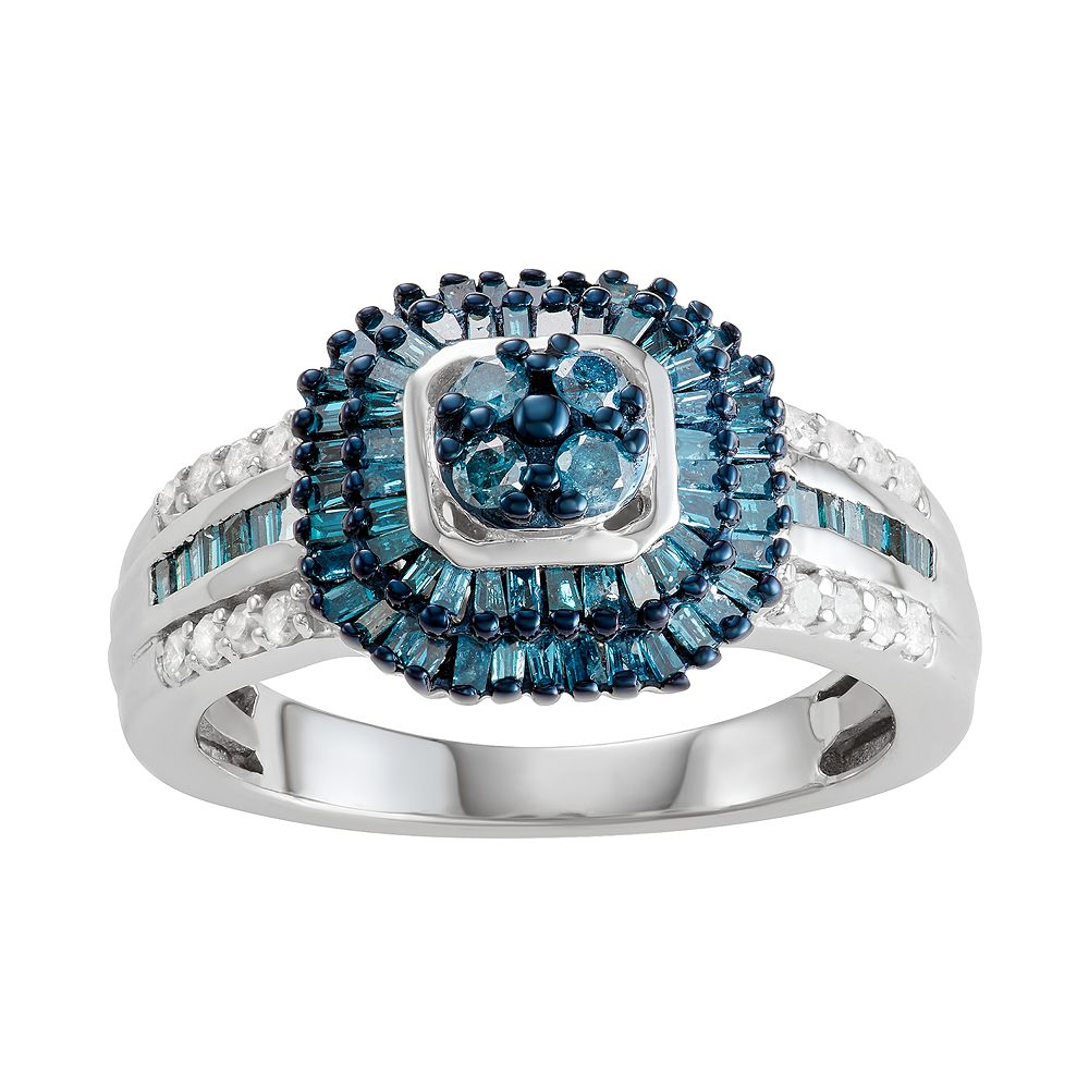 Sterling Silver 1 C.T. Blue & White Diamond Ring