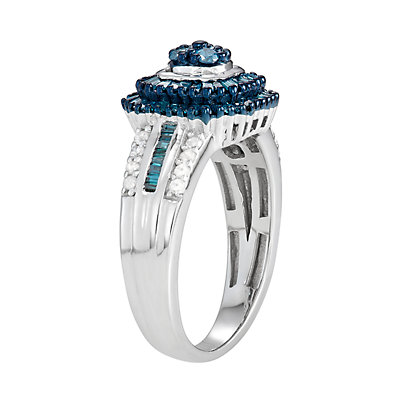 Sterling Silver 1 C.T. Blue & White Diamond Ring