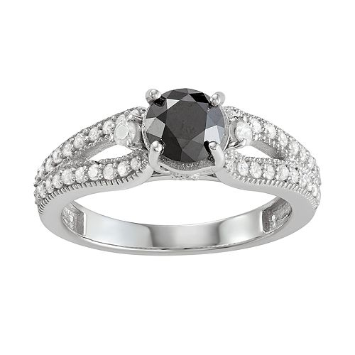 Sterling Silver 1 1/3 CT Black & White Diamond Ring