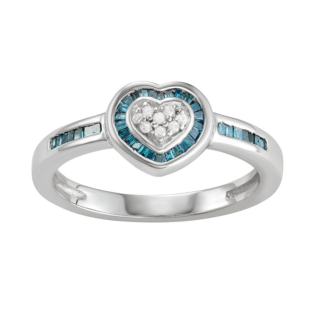 Sterling Silver Blue & White Diamond Accent Heart Ring