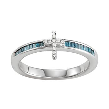 Sterling Silver Blue & White Diamond Accent Cross Ring