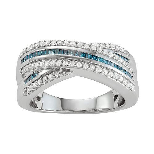 Sterling Silver 1/2 C.T. Blue & White Diamond Ring