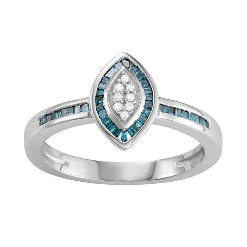 Sterling Silver 1/4 C.T. Blue & White Diamond Marquise Ring