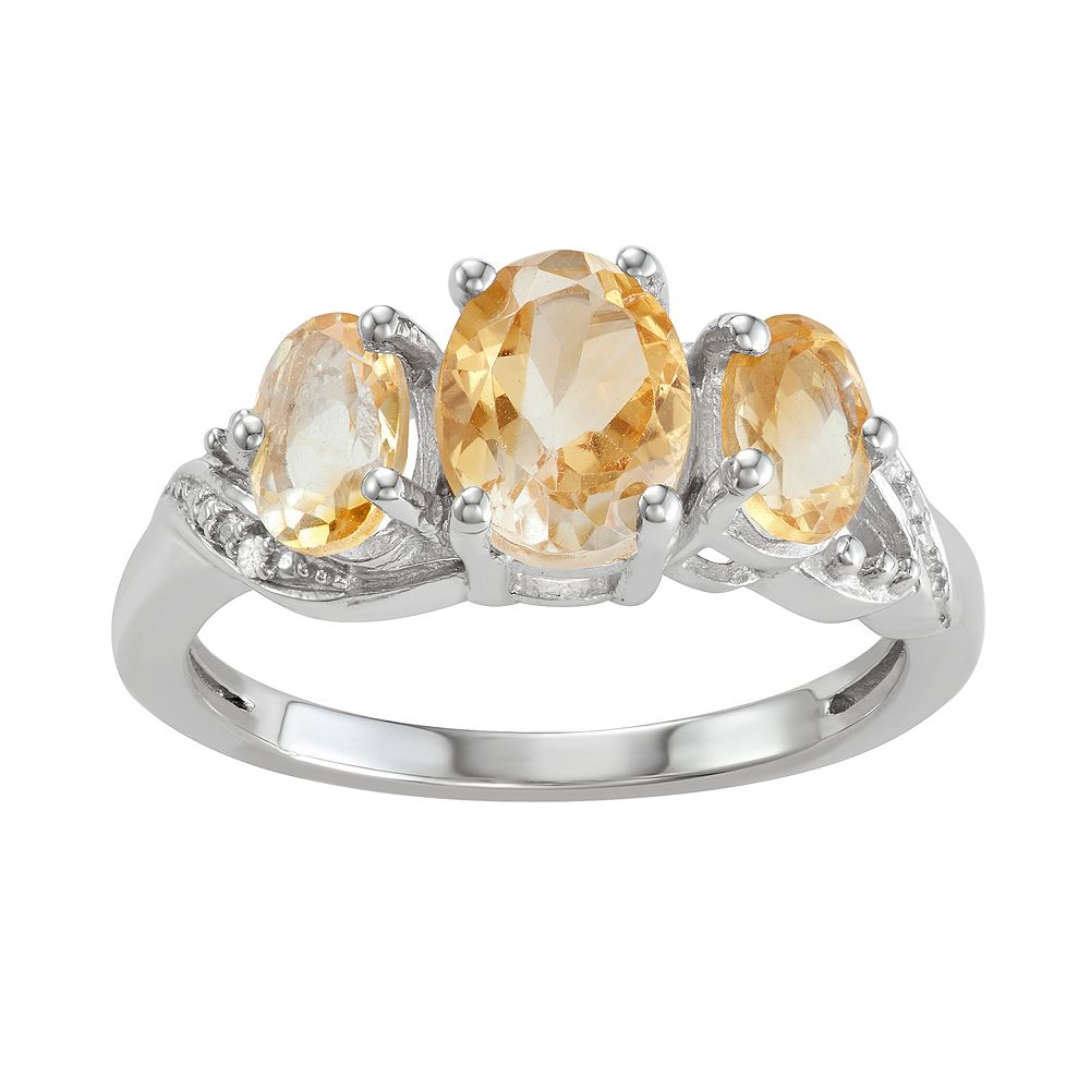 Sterling Silver 2 CTW Cintrine & Diamond Accent Ring