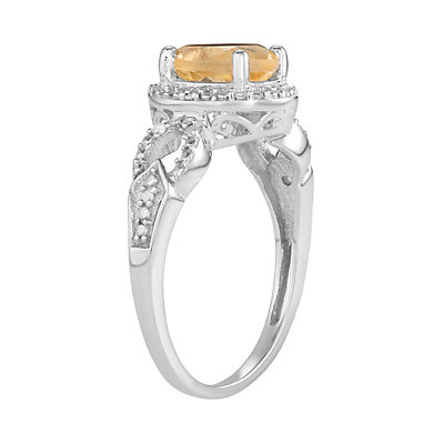 Sterling Silver 1 1/10 C.T.W Citrine & Diamond Accent Ring