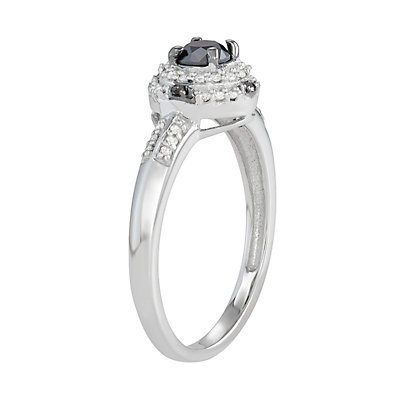 Sterling Silver 1/2 C.T. Black & White Diamond Ring