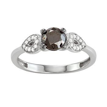 Sterling Silver 1 C.T. Black & White Diamond Ring