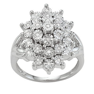 Sterling Silver Diamond Accent Cluster Ring