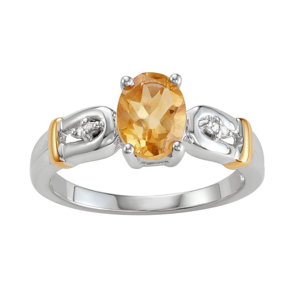 Two-Tone Sterling Silver 1.10 C.T. Citrine & Diamond Horseshoe Ring