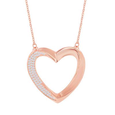 Sterling Silver Cubic Zirconia Open Heart Pendant