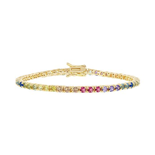 Sterling Silver Colorful Cubic Zirconia Tennis Bracelet