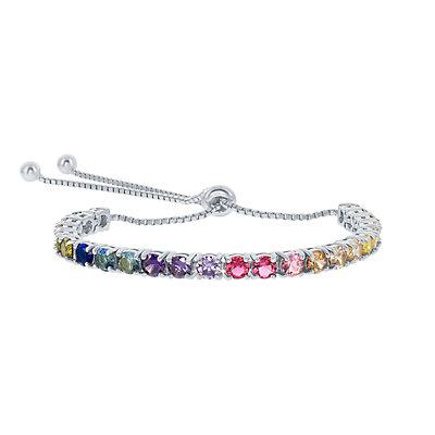 Sterling Silver Colorful Cubic Zirconia Bolo Bracelet