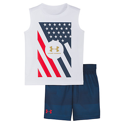 Baby Boy Under Armour Flag Muscle Tee & Shorts Set
