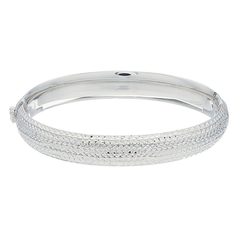 Sterling Silver Textured Oval Bangle Bracelet