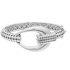 Sterling Silver Textured Loop Bangle Bracelet