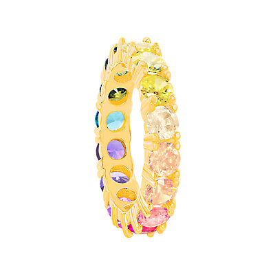 Sterling Silver Colorful Cubic Zirconia Eternity Ring