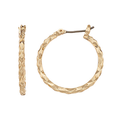 Dana Buchman Gold Tone Textured Hoop Earrings