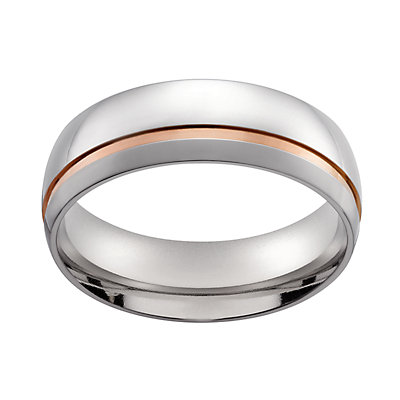 Men's Stainless Steel Two-Tone Wedding Ring