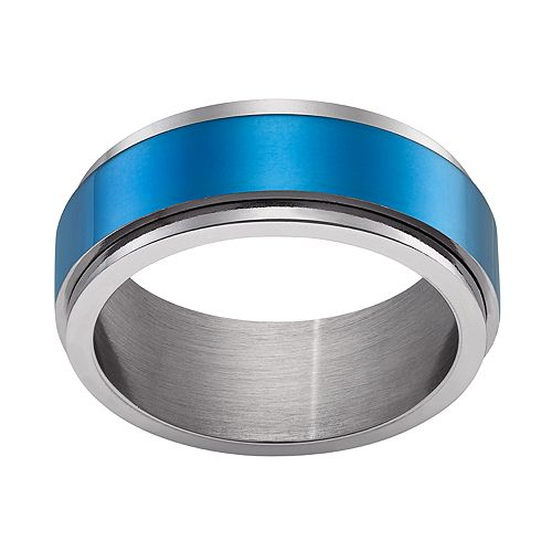 Men's Stainless Steel Blue Band Ring