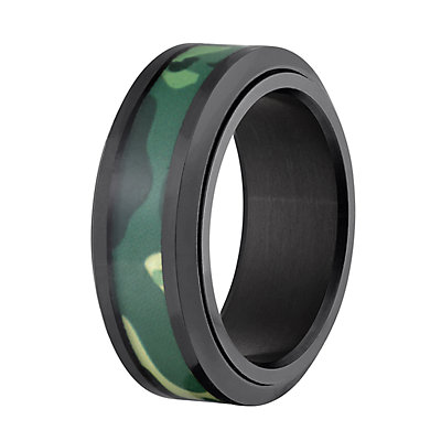 Men's Stainless Steel Black Camouflage Band Ring