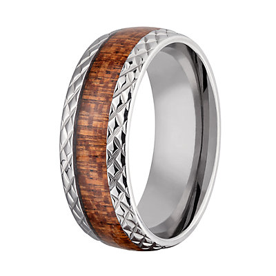 Men's Stainless Steel & Wood Etched Band