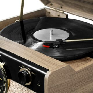 Victrola Wood Bluetooth Mid Century Record Player with 3-speed Turntable & Radio