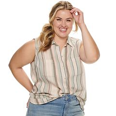 Plus Size SONOMA Goods for Life™ Button Front Sleeveless Shirt