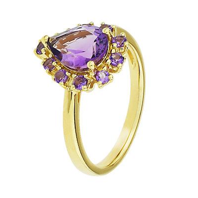 14k Gold Amethyst Teardrop Ring
