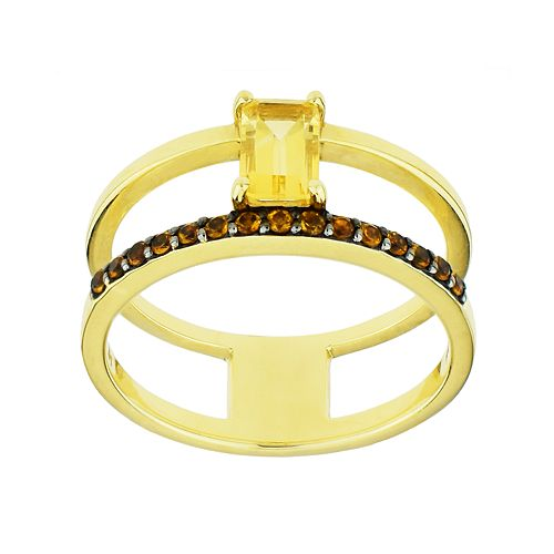 Two Tone 14k Gold Citrine Double Shank Ring