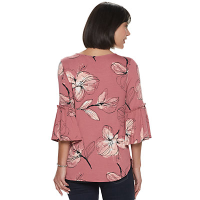 Women's Apt. 9® Burnout Bell-Sleeve Top
