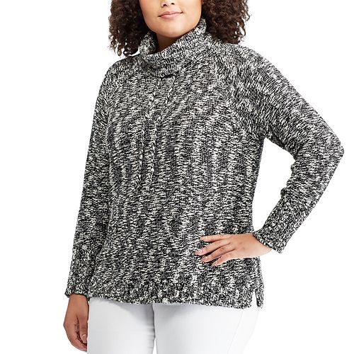 Plus Size Chaps Marled Funnelneck Sweater