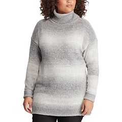 Plus Size Chaps Ombre Stripe Turtleneck Sweater