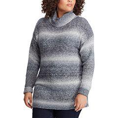 Plus Size Chaps Ombre Stripe Turtleneck Sweater