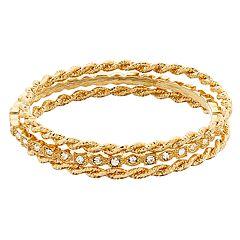 Gold Tone Simulated Stone Twist Detail Bangle Bracelet Set