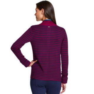 Women's IZOD Striped-Trim Open Front Cardigan
