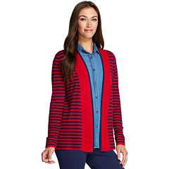 Women's IZOD Striped-Trim Open Front Cardigan