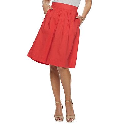 Women's Apt. 9® Poplin Pull-On Midi Skirt