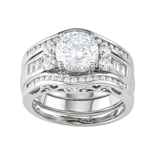 18K Gold over Sterling Silver Cubic Zirconia Ring Set