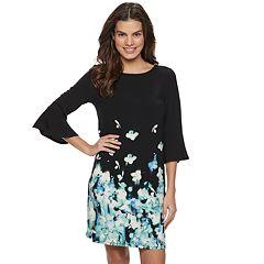 Women's ELLE™ Bell-Sleeve Crepe Shift Dress
