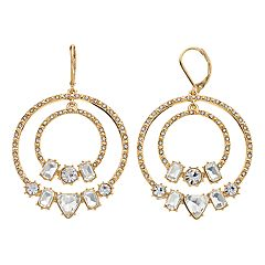 Gold Tone Simulated Stone & Crystal Double Hoop Drop Earrings