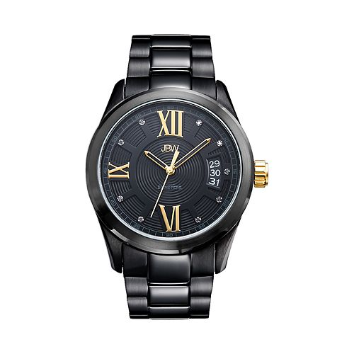 JBW Men's Bond Diamond Accent Black Ion-Plated Watch - J6311E-E