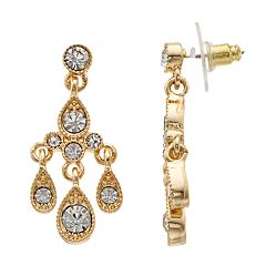 Gold Tone Simulated Stone Chandelier Drop Earrings