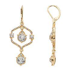 Gold Tone Simulated Stone & Crystal Orbital Drop Earrings