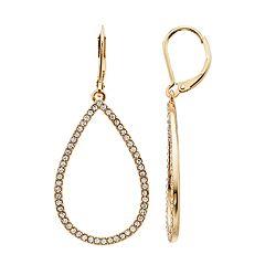 Gold Tone Simulated Stone Teardrop Hoop Earrings