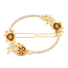 Gold Tone Simulated Stone Flower Motif Hair Clip
