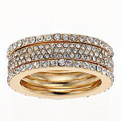 Gold Tone Simulated Stone Layered Ring