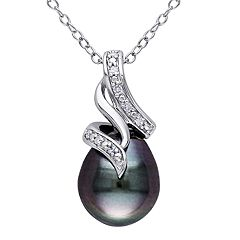 Stella Grace Sterling Silver Black Tahitian Cultured Pearl & Diamond Accent Pendant